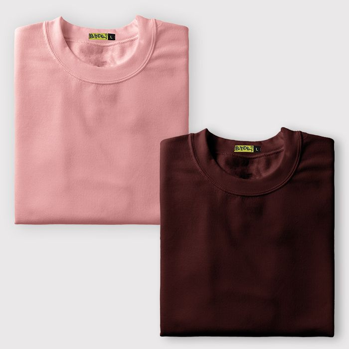 Plain T-Shirts Combo Burgundy & Rose Pink
