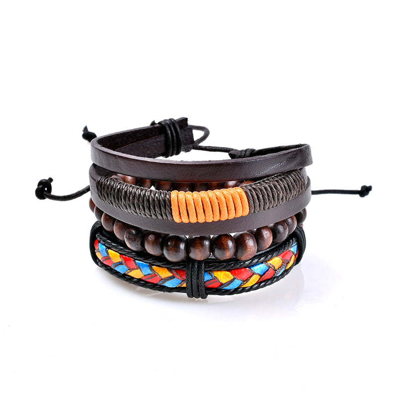 3 Pcs Men's Bracelet Bohemian Bead Leather Colorful Braided Bracelet for Men Fashion Gift