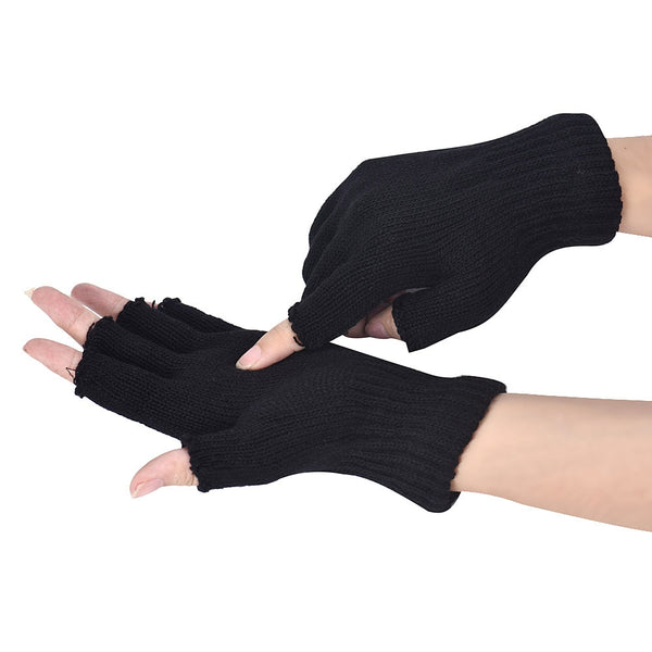 #30 Men Black Winter Gloves Knitted Gloves Stretch Elastic Winter Warm Half Finger Gloves Casual Solid Mittens Guantes Invierno