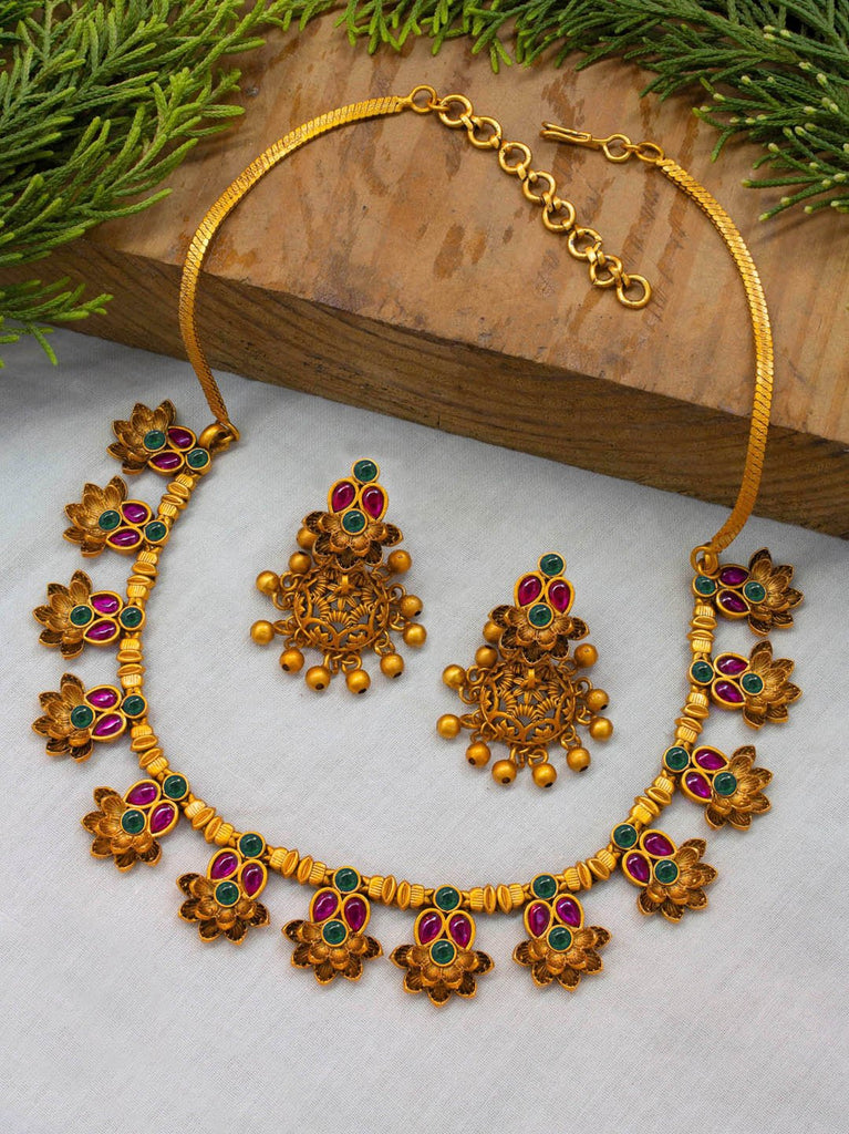Avismaya Matt Gold Finish Red and Green Color Ruby Stones Floral Design Choker Necklace Set