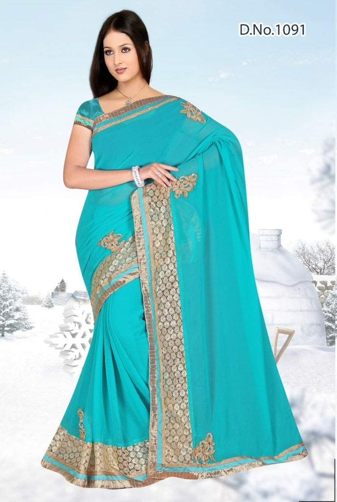 Georgette Embroidery Saree With Blouse