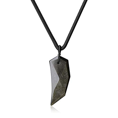 COAI Wolf Tooth Golden Obsidian Amulet Pendant Necklace