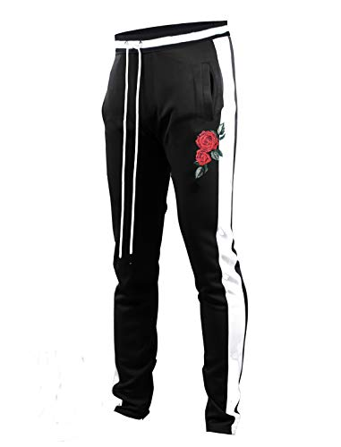 SCREENSHOTBRAND-P11853 Mens Hip Hop Premium Slim Fit Track Pants - Athletic Jogger Rose Embroidery Bottom with Taping-BK/WH-X Large