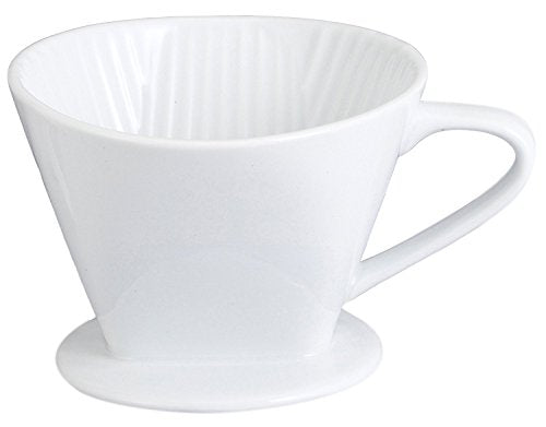 HIC Harold Import Co. Kitchen Filter Cone, Fine White Porcelain, Number 4-Size, Brews 8 to 12-Cups