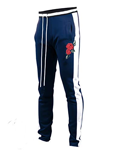 SCREENSHOTBRAND-P11853 Mens Hip Hop Premium Slim Fit Track Pants - Athletic Jogger Rose Embroidery Bottom with Taping-Navy-XX Large