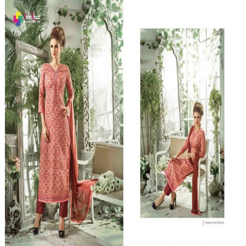 Hi-Fashion Brown Print Straight Suit