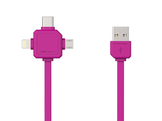 Allocacoc USBcable 3 in 1 (Usb C/Micro/Lightning); PINK