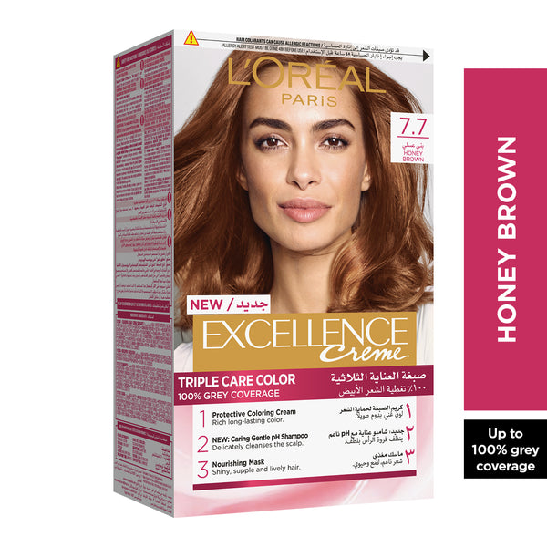 L'Oreal Paris Excellence Crème Permanent Hair Color, 7.7 Honey Brown