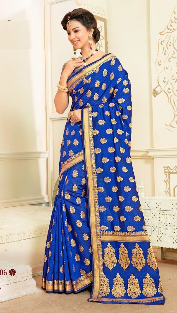 Izaa - Art Silk Banarasi Saree With Blouse