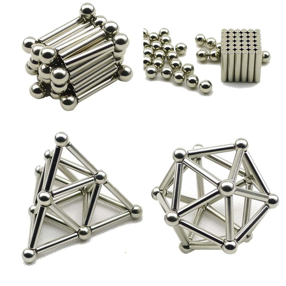 36PCS Magnetic Sticks & 27PCS Steel Balls Toy Innovative Buckyballs Metal Sticks Magnetic Constructor Toys for Building Models