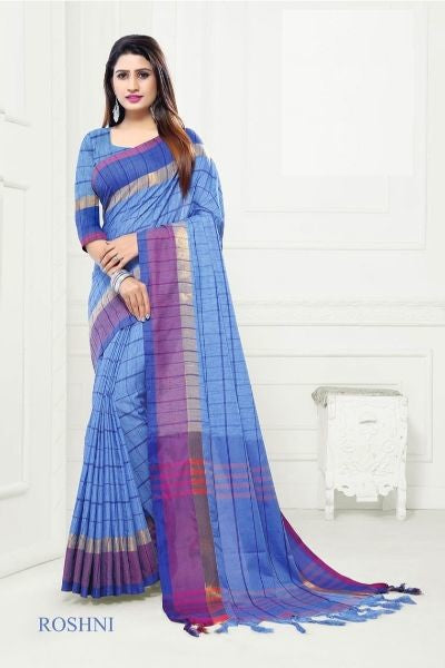 Linen Cotton Checks Saree With Blouse