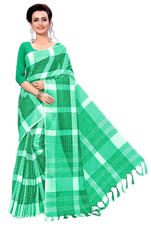 Linen Checks Saree With Blouse