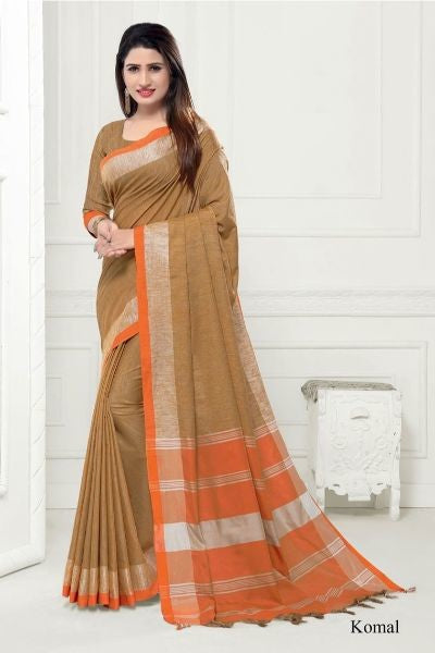 Linen Cotton Ikkat Saree With Blouse