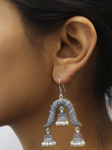 Oxidised Silver Geometric Design 2 Layer Dropping Dangler Jhumka Earring By Panaah