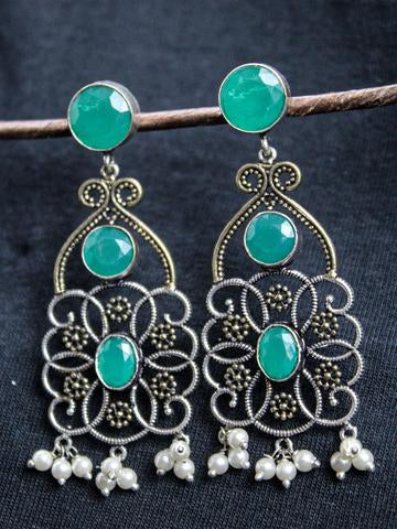 Oxidised Silver Dual Tone Geometric Design Green Stone With Pearl Drops Dangler Earring