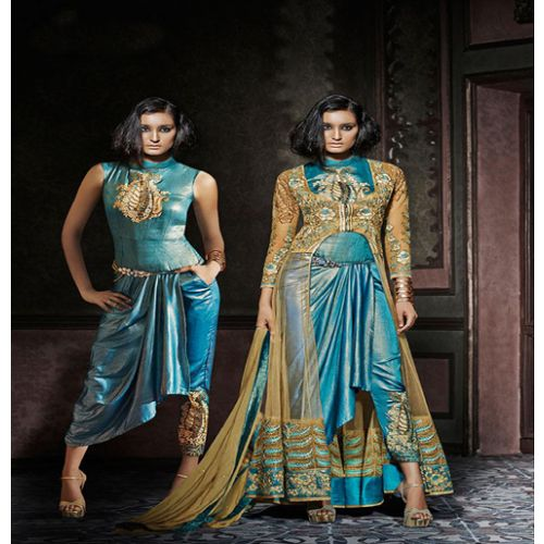 Hi-Fashion Semi-Stitched Turquoise With Beige Embroidered Designer Suit