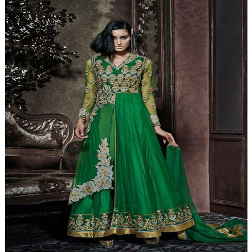 Hi-Fashion Semi-Stitched Green Embroidered Designer Suit