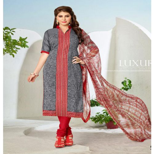 Hi-Fashion Grey Embroidered Unstitched Straight Suit