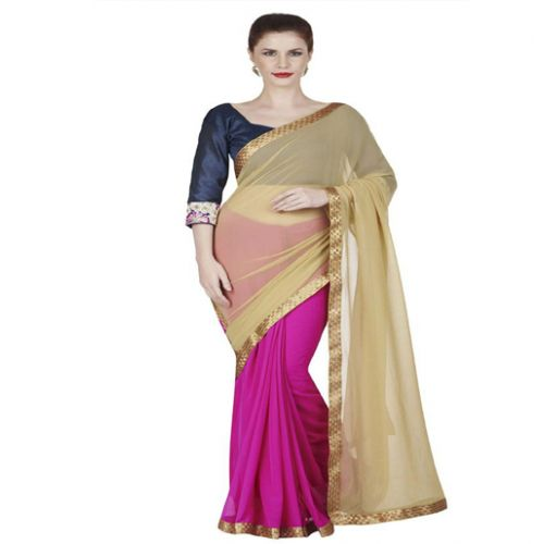 Hi-Fashion Pink Georgette Border Lace Work Work Saree