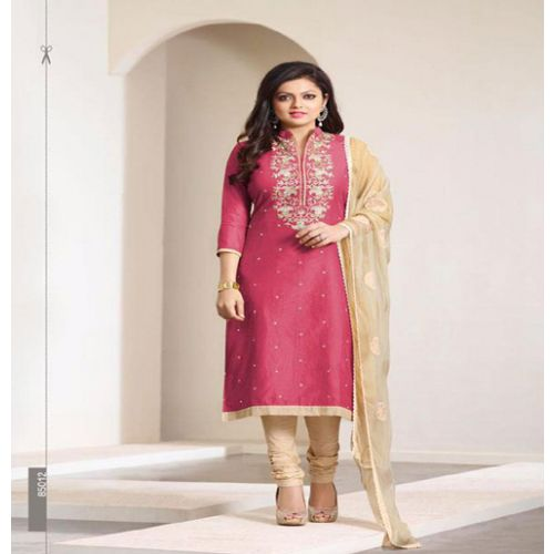 Hi-Fashion Embroidered Pink With Beige Designer Straight Suit