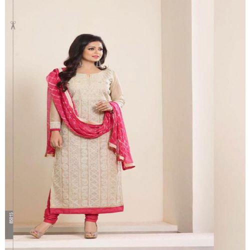 Hi-Fashion Embroidered Cream With Pink Designer Straight Suit