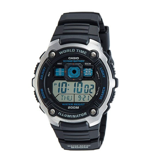 Casio Youth World Timer Digital Black Dial Watch For Men - AE-2000W-1AVDF