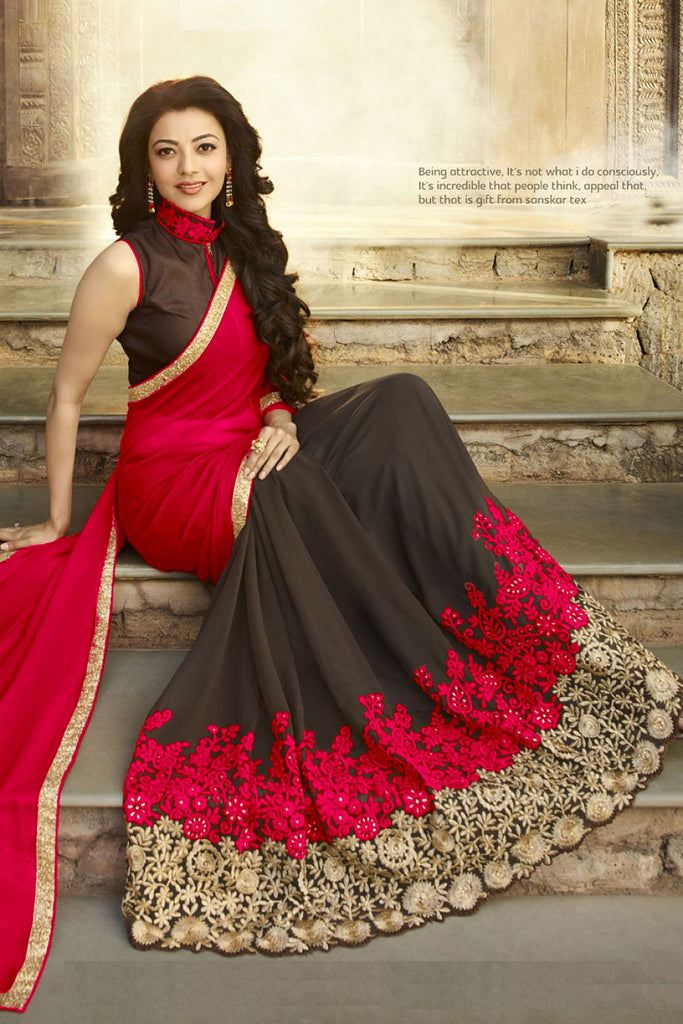 Red and black Georgette Fancy Saree