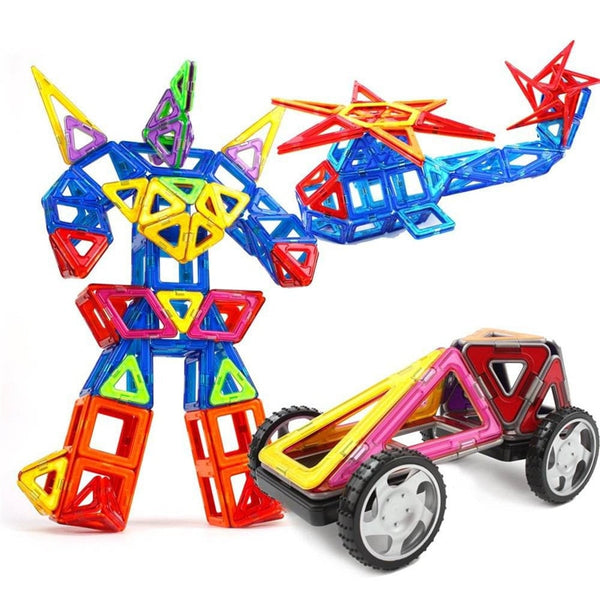 39PCS Mini Magnetic Designer Construction Set Plastic Constructor Sticker DIY Blocks Animals Robot Building Car Educational Toys
