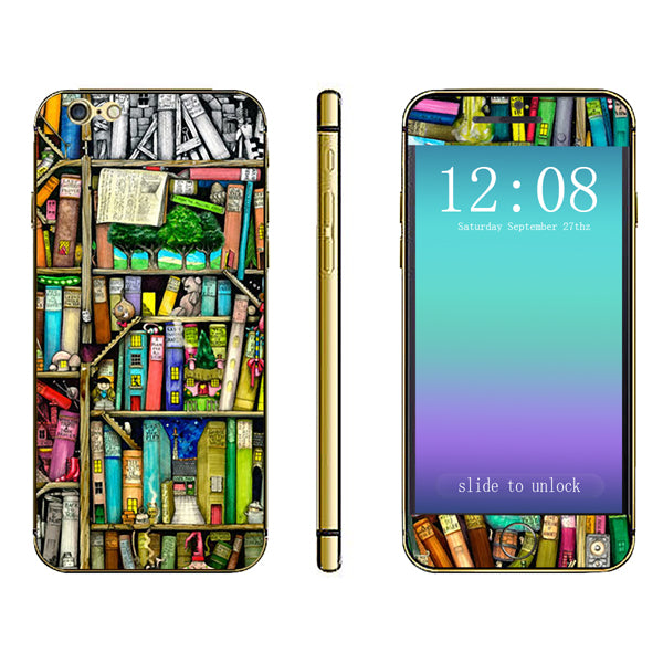 3D Book Shelf Pattern Full Body Sticker For iPhone 6 Plus & 6s Plus