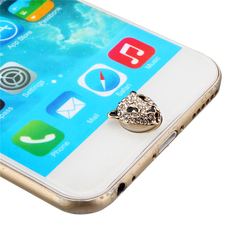 3D Crystal Leopard Home Button Sticker For Apple iPhone 6S Plus iPad iPod