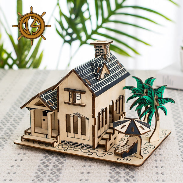 3D DIY Puzzle Model Wooden Toys House Assembling Blocks Wooden Constructor Children's Educational Toys