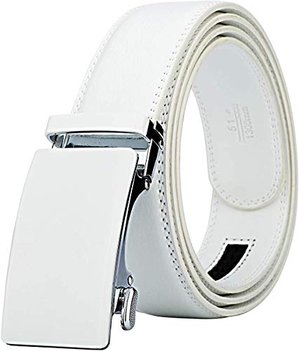 Lavemi Men's Real Leather Ratchet Dress Belt with Automatic Buckle,Elegant Gift Box(55-44308 White Leather)