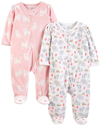 Simple Joys من Carter's Girls '2-Pack Fleece Footed Sleep and Play، White Animals Green / Pink Kitty، 3-6 Months