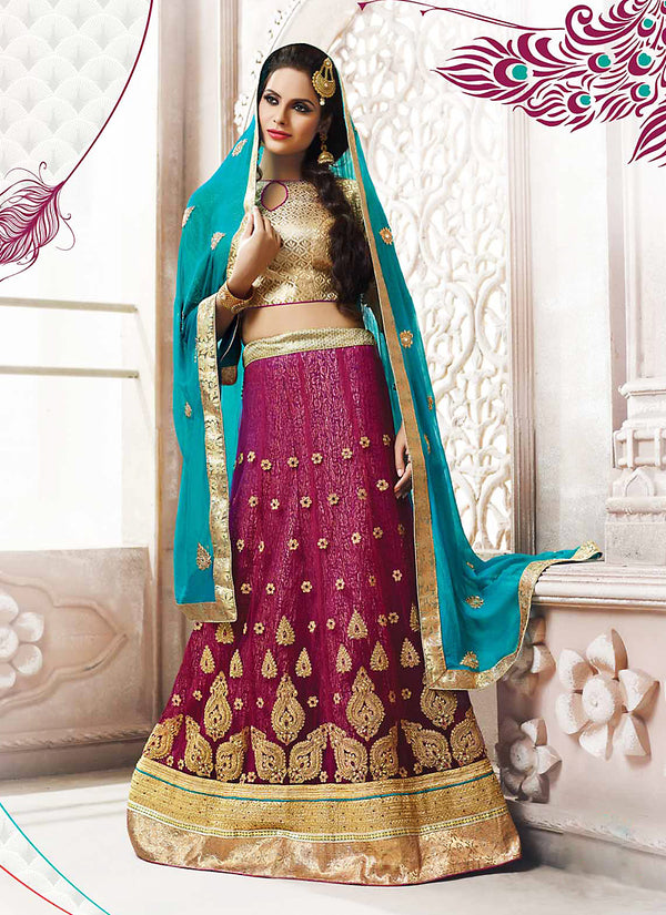 Women's Violet Color Pretty Circular Lehenga Choli by Brthika