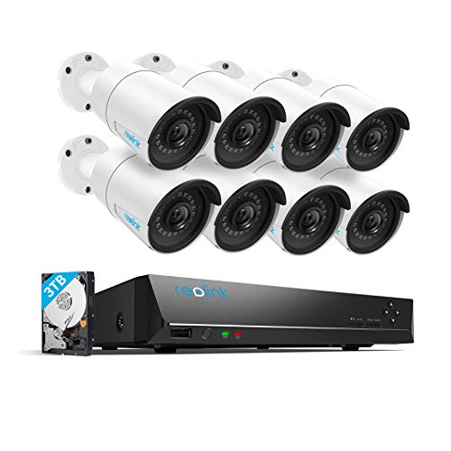 Reolink 4MP 16CH PoE Video Surveillance System، 8pcs Wired Outdoor 1440P PoE IP Cameras، 5MP 16-Channel NVR with 3TB HDD for Home and Business 24/7 Recording، RLK16-410B8