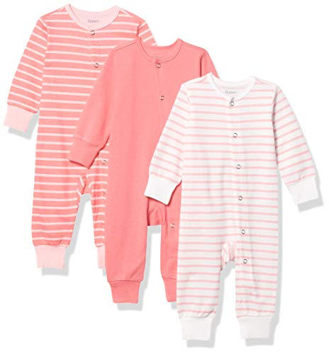 Hanes للجنسين Baby Ultimate Flexy 3 عبوات نوم ولعب بدلات Layette Set - Pink Stripe، 12-18 شهرًا US