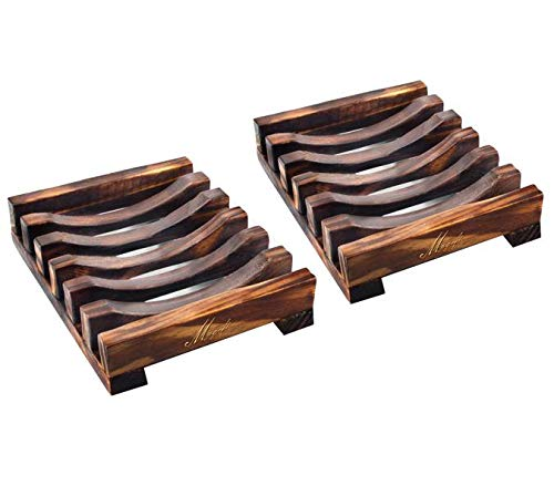 2Pcs Wooden Soap Dish Bamboo Soap Holder Sink Deck Soap Box Tray