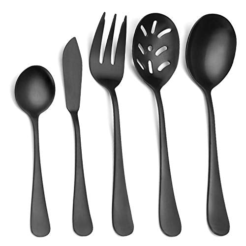 Matte Black Serving Set?SHARECOOK 5-Piece 18/0 Stainless Steel Large Hostess Set with Round Edge, Satin Finished, Dishwasher Safe -Spoons, Forks,Butter Knife& Slotted Spoon