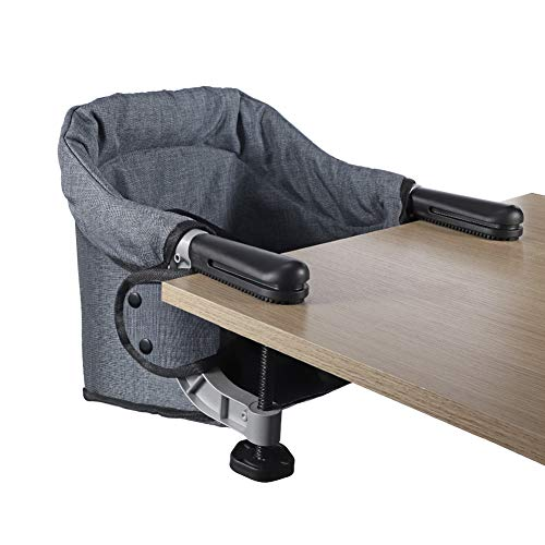 Hook On Chair, Clip on High Chair, Fold-Flat Storage Portable Baby Feeding Seat, High Load Design, Attach to Fast Table Chair Removable Seat for Home and Travel (Grey)