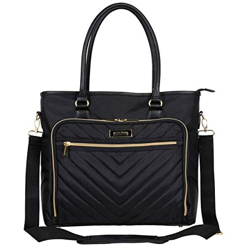 """Kenneth Cole Reaction Chelsea Quilted Chevron 15 """"Laptop & Tablet Business Tote مع حزام كتف قابل للإزالة ، أسود"""