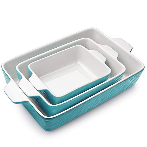 Bakeware Set, Krokori Rectangular Baking Pan Ceramic Glaze Baking Dish for Cooking, Kitchen, Cake Dinner, Banquet and Daily Use, 11.6 x 7.8 Inches of Aquamarine, 3 Pack of Rectangula