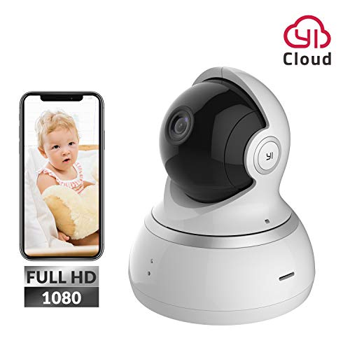 YI Dome Camera 1080p HD with Pan-tilt-zoom Night Vision Motion Detection Two Way Audio Home Indoor WiFi Security IP Camera for Baby / Pet / Nanny Monitor, Cloud & Local Storage Available, White