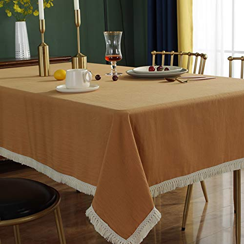 ASDEWQ Ginger Retro Tablecloth,White Fringed Lace Tablecloths,Rectangular Washable Cotton Table Cover,Table Cloths For Kitchen Dining Room Party Decoration Tablecovers-140 * 260cm
