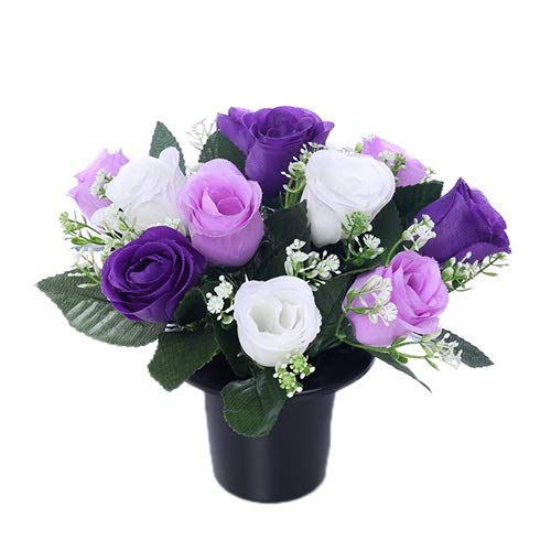 25cm Artificial Purple Lilac & Cream Rose Grave Pot with 12 Flower Heads- Vase Insert Memorial