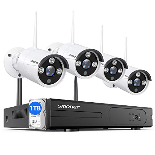 ?1TB Hard Drive Pre-installed?SMONET 1080P Wireless Security Camera System,8-Channel Full HD Wireless Home Camera System, 4pcs 2.0MP Indoor Outdoor Surveillance Cameras,P2P,Super Night Vision,Free APP