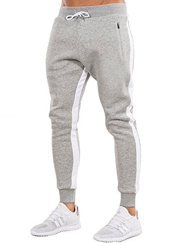 Ouber Men's Gym Jogger Pants Slim Fit Workout Running Sweatpants with Zipper Pockets (L,,Grey)