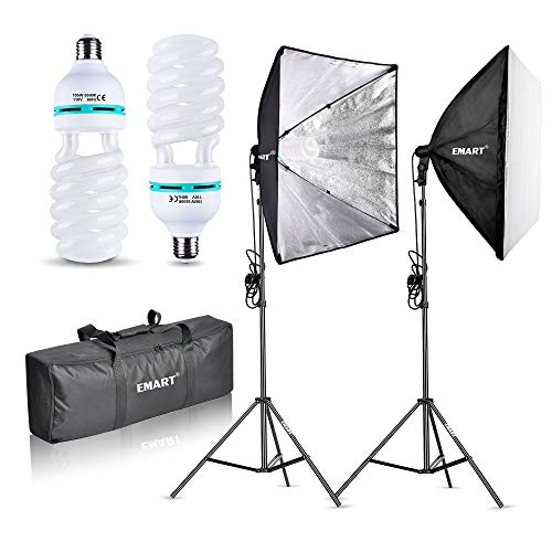 "Emart 1000W Softbox Lighting Kit Photography Continuous Photo Studio Light System for YouTube Video Shooting Soft Box 24"" x 24"""