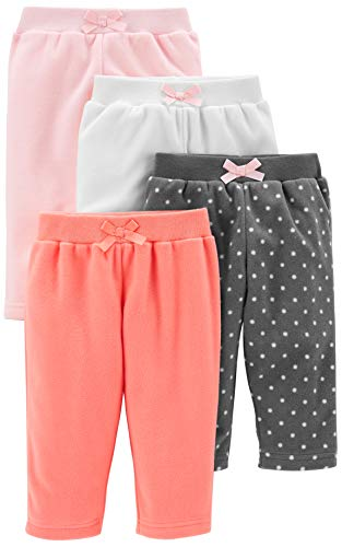 Simple Joys by Carter's Girls's 4-Pack Fleece Pants، Pink / Navy Dot / Ivory، 12 شهرًا
