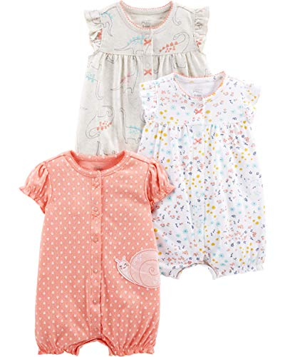 Simple Joys by Carter's Girls '3 Pack Snap-up Rompers دينو / زهري / حلزون ، 0-3 أشهر