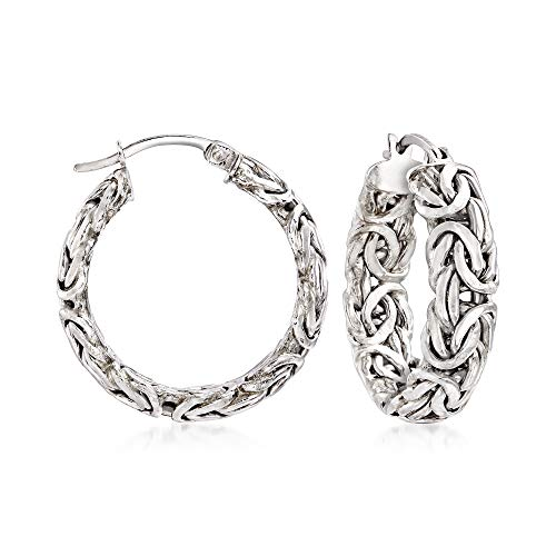 Ross-Simons Sterling Silver Small Byzantine Hoop Earrings For Women